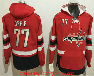 7be7b2b88 ... Mens Washington Capitals 77 T.J. Oshie NEW Red Stitched NHL Old Tim  Hockey Hoodie ...