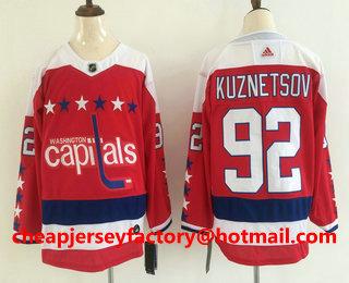 e1b13a1c808 Men s Washington Capitals  92 Evgeny Kuznetsov NEW Red 2019 Stitched NHL  Hockey Jersey