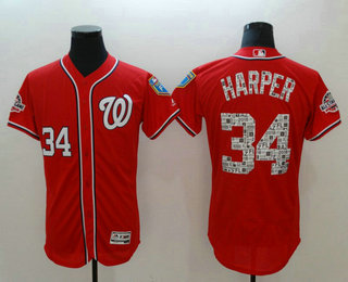 39a8e5f60 Men s Washington Nationals  34 Bryce Harper Red 2018 Spring Training  Stitched MLB Flex Base Jersey