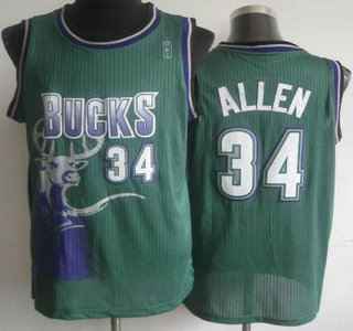 7c75e6cf57b Milwaukee Bucks  34 Ray Allen Green Hardwood Classics Revolution 30  Authentic Jersey