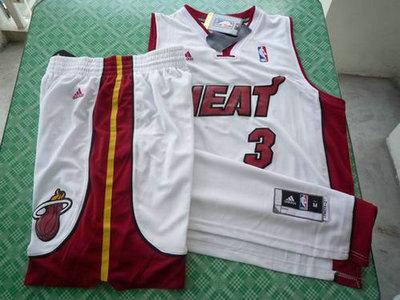 b7c37e04d Miami Heat 3 Dwyane Wade white swingman Basketball Suit