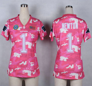 71dd3aff5 Nike Carolina Panthers  1 Cam Newton 2014 Salute to Service Pink Camo  Womens Jersey