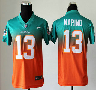 uk availability bf5ad 3599b Nike Miami Dolphins #13 Dan Marino Drift Fashion II Green ...