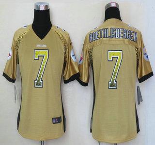 e6a396761ef Nike Pittsburgh Steelers  7 Ben Roethlisberger Drift Fashion Gold Elite  Womens Jersey