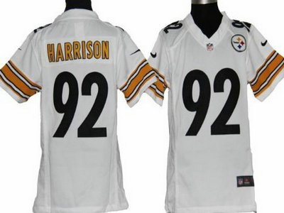 super popular 7b51b 34bc2 nike pittsburgh steelers 92 james harrison white game kids ...