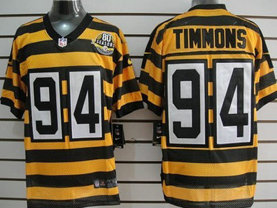 dcdffd494d6 Nike Pittsburgh Steelers 94 Lawrence Timmons Yellow With Black Throwback  80TH Jersey