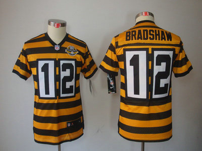 e27879d20 Anniversary Throwback Nike Pittsburgh Steelers 12 Terry Bradshaw Yellow  With Black Limited 80TH ...