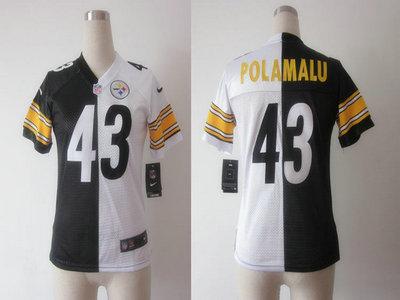 Nike Pittsburgh Steelers 43 Troy Polamalu Black and White Split Elite  Womens Jerseys fda892e67