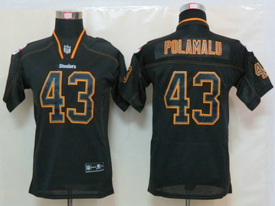 60b7d517ef4 Nike Pittsburgh Steelers 43 Troy Polamalu Lights Out Black Elite Kids  Jerseys