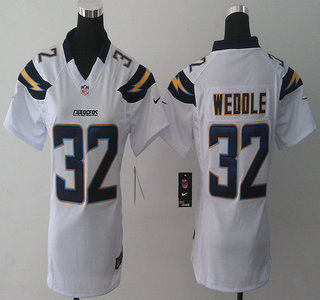 nike san diego chargers 32 eric weddle 2013 white elite womens jersey