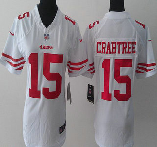 7d9a87965 nike san francisco 49ers 15 michael crabtree white limited womens jersey .