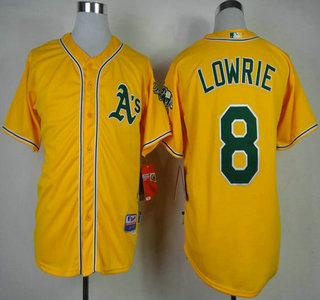 uk availability dc879 19ad8 Oakland Athletics #8 Jed Lowrie 2014 Yellow Jersey