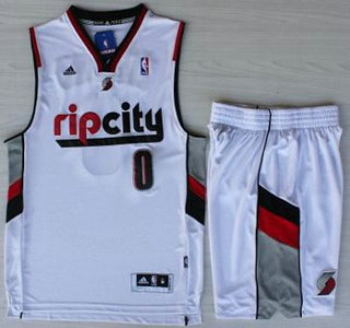 680295d21 ... Rip City Revolution 30 Swingman White Jersey Portland Trail Blazers 0  Damian Lillard White Revolution 30 Swingman NBA Jersey Short Suit ...