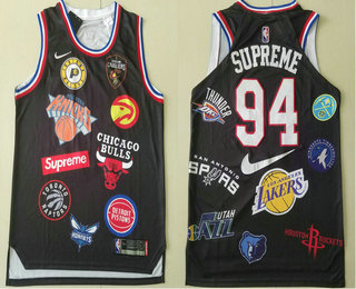 881569166 Supreme x Nike x NBA Logos Black Stitched Basketball Jersey
