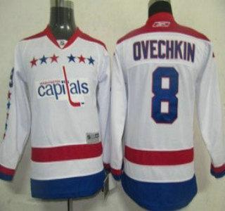 cheap for discount 95ae8 28b5e washington capitals 8 alex ovechkin white winter kids jersey