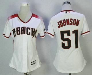 womens arizona diamondbacks 51 randy johnson white home stitched mlb cool base jersey