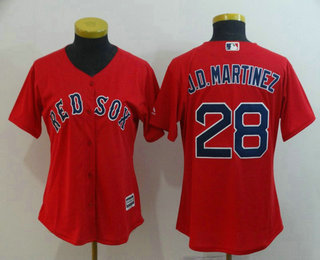 0929bd1c1 Women s Boston Red Sox  28 J.D. Martinez Red Stitched MLB Cool Base Jersey