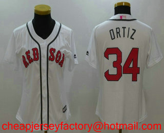 499aa2194 Women s Boston Red Sox  34 David Ortiz White With Pink Mother s Day  Stitched MLB Cool