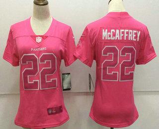 19ac2025b ... Womens Carolina Panthers 22 Christian McCaffrey Pink Fashion 2017 Rush  NFL Nike Limited Jersey ...