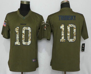 Women s Chicago Bears  10 Mitchell Trubisky Green Salute To Service  Stitched NFL Nike Limited Jersey c1f7a6c20