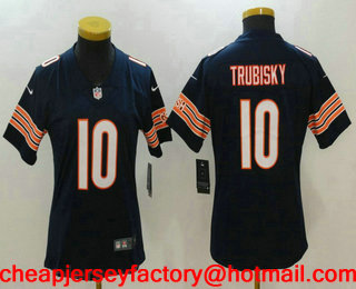 Women s Chicago Bears  10 Mitchell Trubisky Navy Blue 2017 Vapor  Untouchable Stitched NFL Nike Limited f700e3ccf