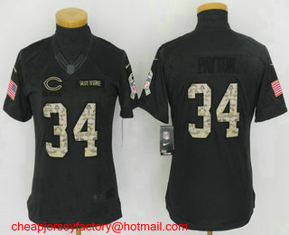 416c13633fd Women's Chicago Bears #34 Walter Payton Black Anthracite 2016 Salute To  Service Stitched NFL Nike