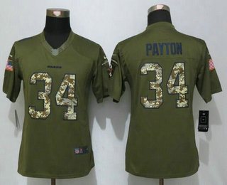 7e7bf587cd0 Women s Chicago Bears  34 Walter Payton Green Salute to Service NFL Nike  Limited Jersey