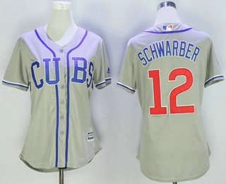 bc32fd4e2 ... best price womens chicago cubs 12 kyle schwarber gray cubs stitched mlb  majestic cool base jersey