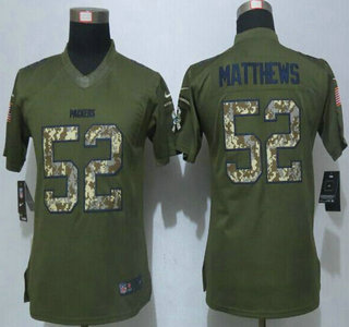 ebf9b65f4 ... Womens Green Bay Packers 52 Clay Matthews Green Salute to Service 2015  NFL Nike Limited ...