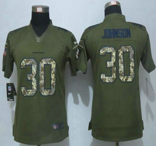 Women s Houston Texans  30 Kevin Johnson Green Salute to Service 2015 NFL Nike  Limited Jersey ba0dcab4c
