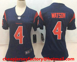 Women s Houston Texans  4 Deshaun Watson Navy Blue 2016 Color Rush Stitched  NFL Nike Limited 4f4c91707