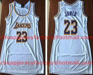 ef32e30a856 Women s Los Angeles Lakers  23 LeBron James White 2018-2019 Nike Swingman  NBA Dress