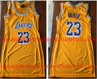 73fe75f4d Women s Los Angeles Lakers  23 LeBron James Yellow 2018-2019 Nike Swingman NBA  Dress