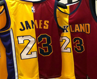 1aef95014b1 ... Swingman Nike Jersey   30. Women s Los Angeles Lakers with Cleveland  23  LeBron James Yellow With Red Two Tone Printed