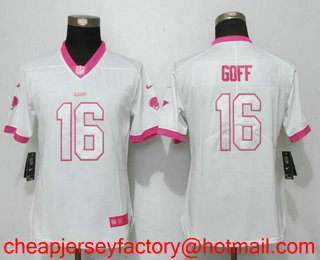 Nice Women's Los Angeles Rams #29 Eric Dickerson White Pink 2016 Color