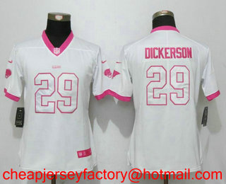 Top Women's Los Angeles Rams #29 Eric Dickerson White Pink 2016 Color