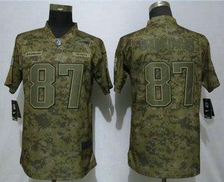 aa7785346 Women s New England Patriots  87 Rob Gronkowski 2018 Camo Salute to Service  Stitched NFL Nike