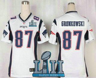 sports shoes 95b2c c0668 Women's New England Patriots #87 Rob Gronkowski NEW White ...
