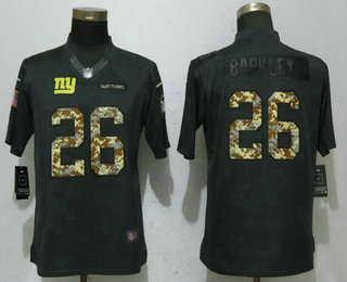 Women s New York Giants  26 Saquon Barkley Limited Black Anthracite 2017  Salute To Service Stitched b72059bb9