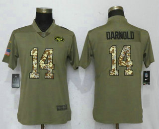 Women s New York Jets  14 Sam Darnold Olive With Camo 2017 Salute To  Service Stitched fe6fc2883