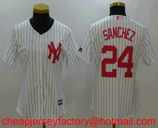 4b944cc0dfa Women s New York Yankees  24 Gary Sanchez White With Pink Mother s Day  Stitched MLB Cool