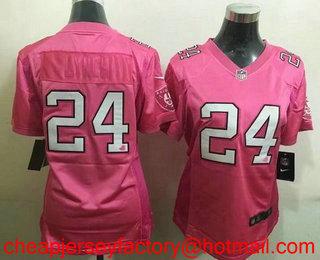 b5b7821bd9434 Women s Oakland Raiders  24 Marshawn Lynch Pink Love Stitched NFL Nike  Fashion Jersey