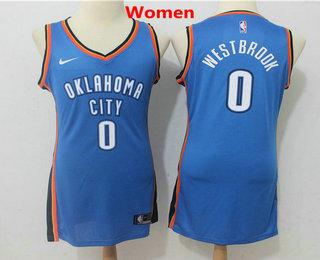 349817bc4 Women s Oklahoma City Thunder  0 Russell Westbrook New Royal Blue 2017-2018 Nike  Swingman