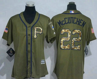 deb743a1f ... Womens Pittsburgh Pirates 22 Andrew McCutchen Green Salute to Service Majestic  Baseball Jersey ...