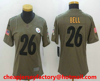dc1901e3b42 Women s Pittsburgh Steelers  26 Le Veon Bell Olive 2017 Salute To Service  Stitched NFL