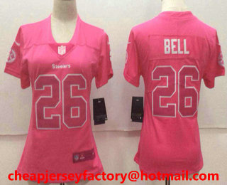 3866aab51 ... Womens Pittsburgh Steelers 26 LeVeon Bell Pink Fashion 2017 Rush NFL Nike  Limited .