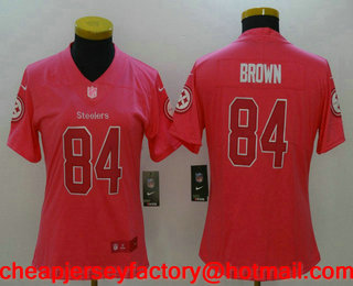 womens pittsburgh steelers 84 antonio brown pink fashion 2017 rush nfl nike limited jersey