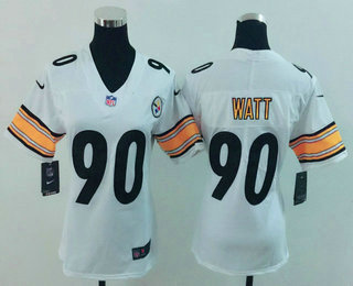 faa02e505e9 ... Womens Pittsburgh Steelers 90 T. J. Watt White 2017 Vapor Untouchable Stitched  NFL Nike Limited Jersey ...