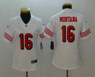 ad4b07edfd6 Women s San Francisco 49ers  16 Joe Montana White 2018 Color Rush Vapor  Untouchable Limited Jersey