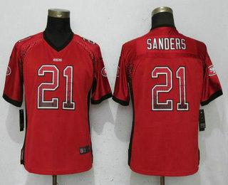 147d72b64cc Women s San Francisco 49ers  21 Deion Sanders Red Drift Stitched NFL Nike  Fashion Elite Jersey